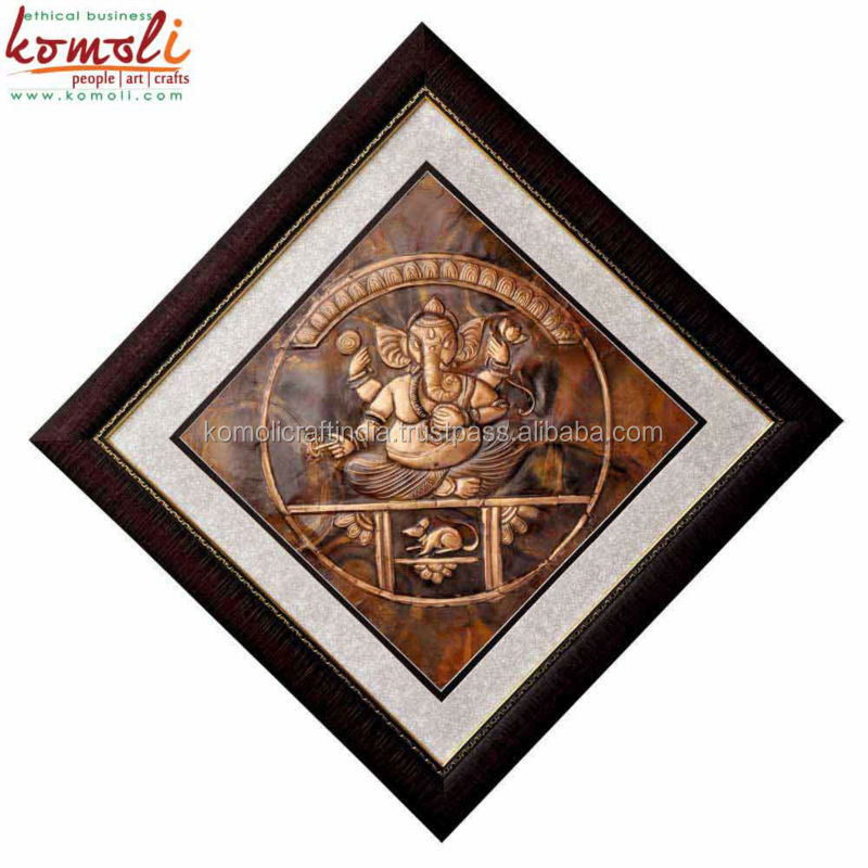 Copper repousse 3d picture of Ganesh metal wall hanging