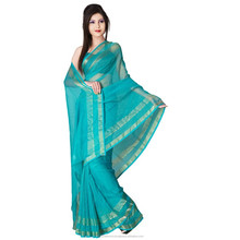 Indian Appreciable Green Colored Plain Chiffon Saree by Triveni
