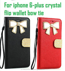 For iphone 6 Plus Luxury PU leather Case For Apple iPhone 6 4.7 Plus 5.5 Wallet With Card Slot crystal flip wallet bow tie black