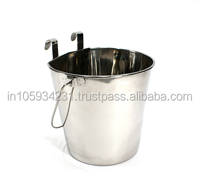 Stainless steel Pet Pail for Animal serving Bucket with hooks