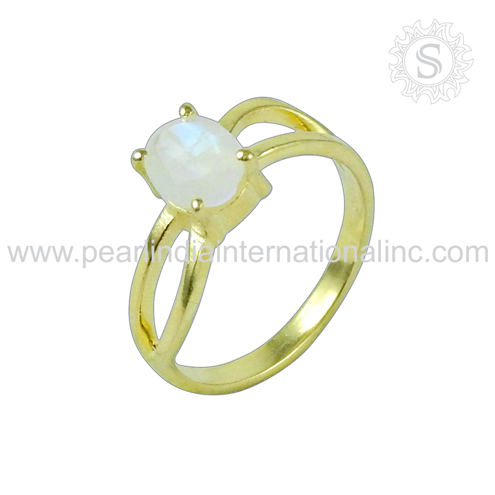 Gold Plated Rainbow Moonstone Gemstone Silver Ring Wholesale Sterling Silver Jewelry 925 Silver Prong Ring