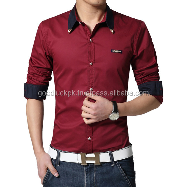 dress shirt - European style long sleeve latest brand design formal dress fashion cotton shirt men