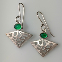 Made in India Gemstone jewellery earring dangler 925 sterling silver rhodium plated synthetic emerald oval shape filigree design