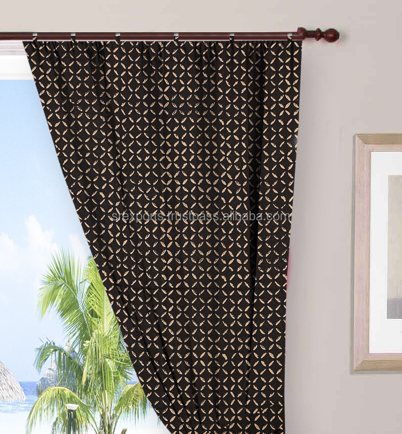 Hand Block Printed Door Curtain Window Drapery Panel Sheet Wall Curtain
