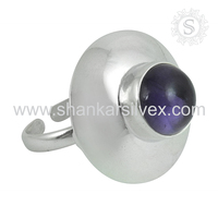 High Frequency Purple Amethyst 925 Silver Ring Wholesaler Indian Silver Jewelry Handmade Ring