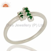 925 Sterling Silver Pave Set Emerald Gemstone Modern Design Open Bar Ring Manufacturer of Girls Jewerly
