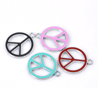 "Charm Pendants Peace Symbol Enamel At Random Color 27mm x23mm(1 1/8"" x 7/8""),10 PCs"
