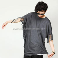 cotton polyester elongated t shirt with new design.high quality ,shirt; new special elongated tees