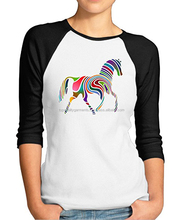 New Round Neck Rainbow Horse Women Print Long Sleeve Raglan Top T-Shirt Custom Baseball Wholesale Two Color OEM Customize