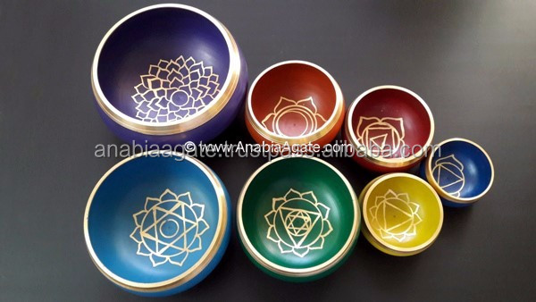 """Tibetan Singing Bowl"" With Chakra Symbol : Tibetan Singing Bowl With Cushion And Lather Stick"