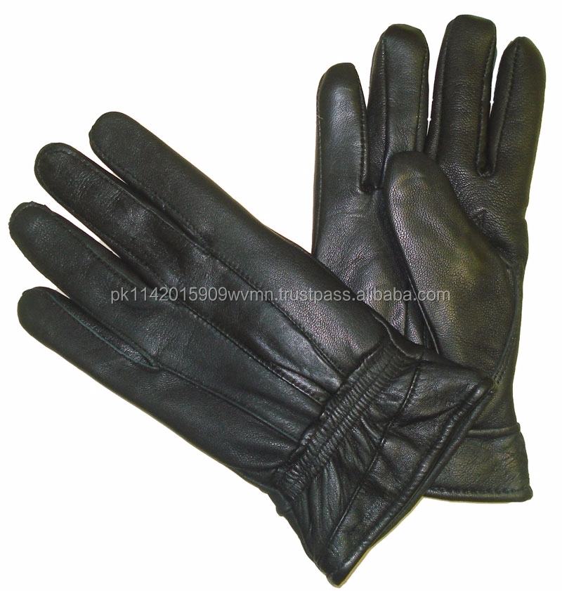 Ladies winter sheepskin touch leather hand gloves black