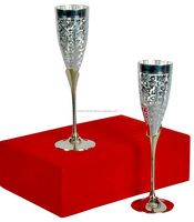 Silver and Gold Plated Wine Glasses-2015 Hot design gift low price Brass wine glass gold and silver plated goblets