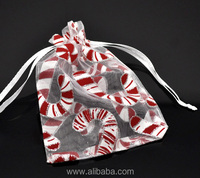 White Christmas Candy Cane Organza Wedding Gift Bags &Pouches W/Draw String 12x9cm, sold per packet of 100