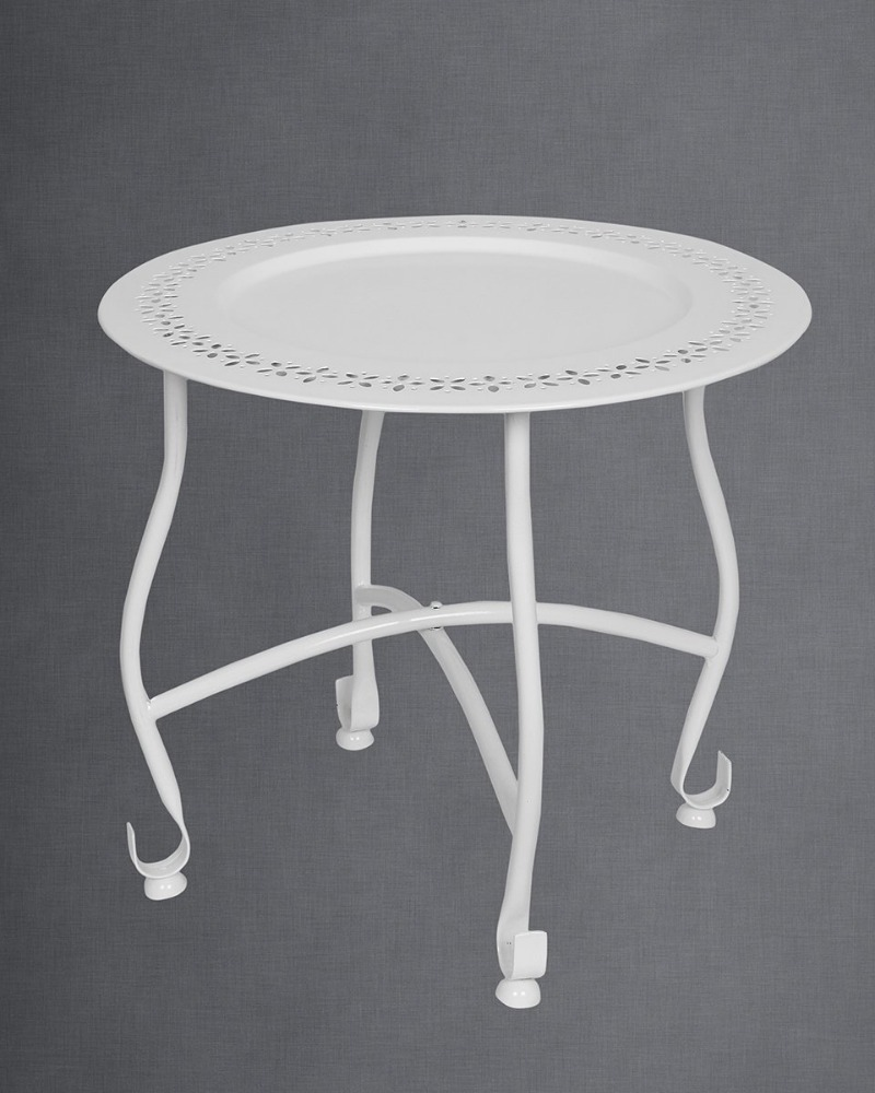 Home Furniture Decor Round White Moroccan Tray Table Bedside Coffee End Ottoman Sofa Table with Removable Plate