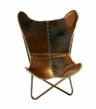 natural tan color butterfly cowhide leather chair with foldable frame