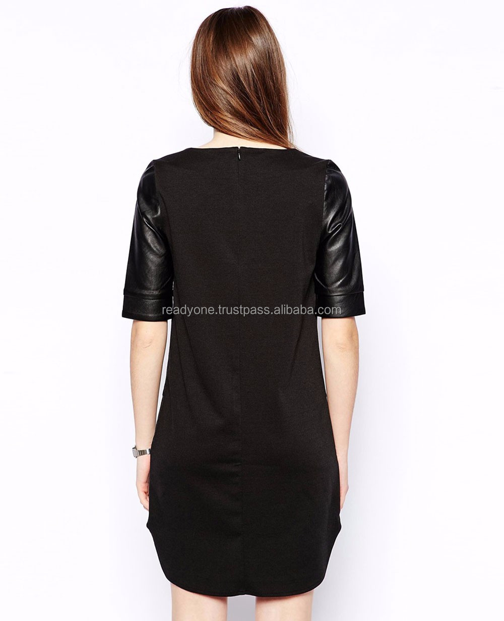 wholesale black long sleeve faux leather low back fitting dress