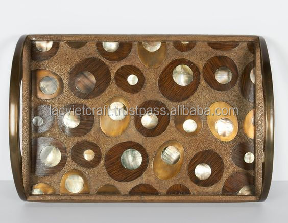 High end quality best selling special newest designed Horn inlay rectagular serving Tray from Vietnam