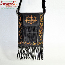 Multi Pocket Genuine Split Suede Leather Sling Bag - Indian Embroidery Leather Bag