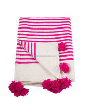 New modern Design 100 % best Material Made royal Choice Pom Pom Blanket, pink colour for occasion use./home decor blanket
