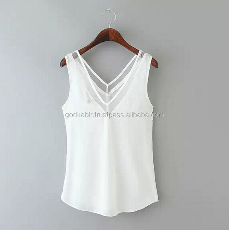 New Royal fashion use Casual Women V-Neck Vest Summer Loose Sleeveless Tank T-Shirt Tops Blouse Lace.