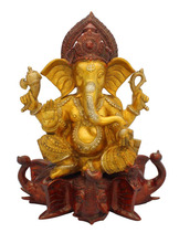 Ganesha Sitting on Elephant Trunk 17""