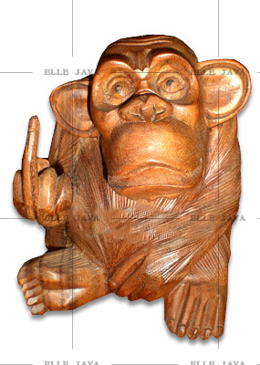 Solid Wood Carved Monkey statue