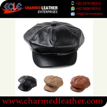 Leather fancy caps lamb leather Black / Leather Newsboy Cap Hat