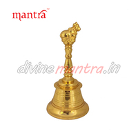 Brass Hand bell with Nandi ( 24kt Gold Plated )