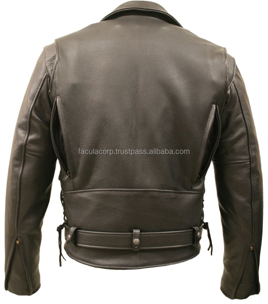 2016 Mens Brown American Bison Leather Vented Biker Jacket with Gun Pockets
