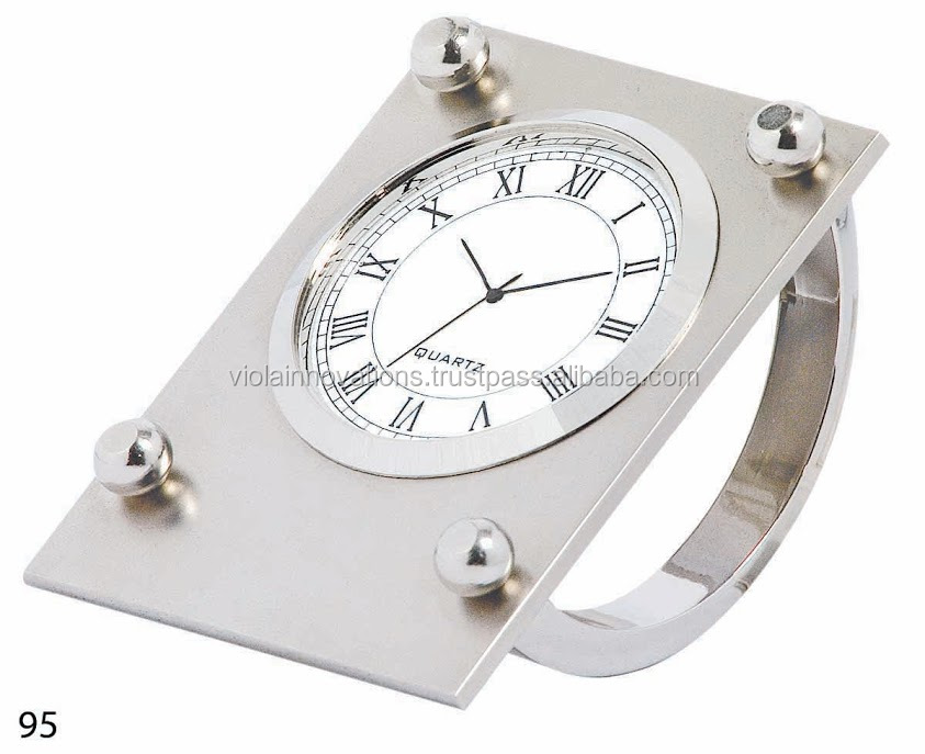 Corporate gifts silver plated desk clock