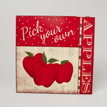 WALL PLAQUE WOOD 15.75 X 15.75 PICK YOUR OWN APPLES #22908