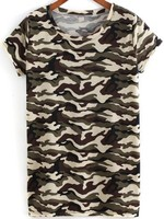 Camouflage Printed Round Neck For Mens