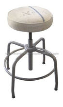 industrial & vintage iron metal revolving stool with linen cloth seat