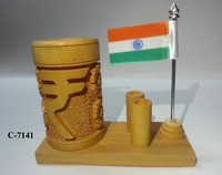 Wooden Rupees Pen Stand W/2 Pen Stand & Flag