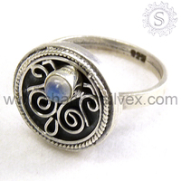 Rainbow Moonstone 925 Sterling Silver Jewelry Ring Wholesaler Silver Jewelry India