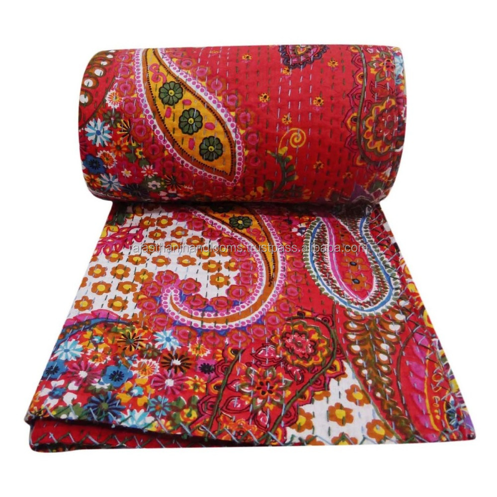 Vintage Kantha Quilt Suzani Kantha Quilt Floral Kantha Throw Handmade Bedspread Queen Size Blanket India