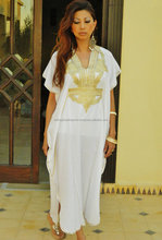 Caftan Kaftan Maxi Dress Marrakech Style- White with Gold Embroidery, for beach cover ups, birthday gifts