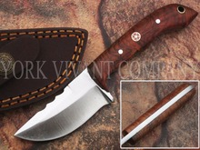 York Vivant-Custom Handmade D2 Steel Fixed Blade miniature Hunting Knife Model # YV-M4 Rose Wood & Mosaic Pin Handle