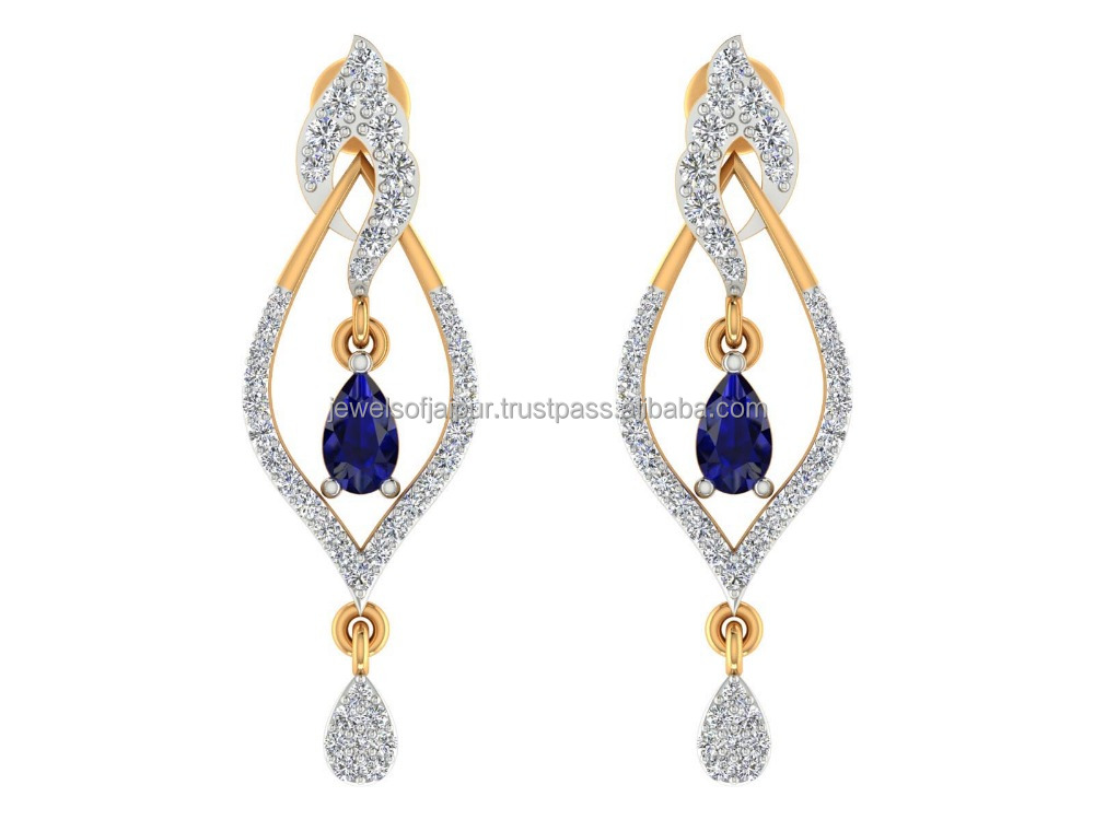 Best Friends Are Like Diamonds Gemstone Precious And Rare Blue Sapphire Gemstone Natural Certified Diamond 14k Earring For Party