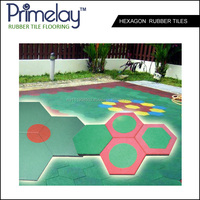Hexagon Rubber Tiles For Children Playground With Beautiful Patterns