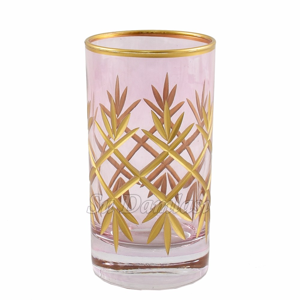 Gold Shot Glasses, Fancy, Chic, Pink, Colorful Liqueur Glassware, Dinnerware, Tableware, Etched, Cut Glass, Sandblasted, Turkish