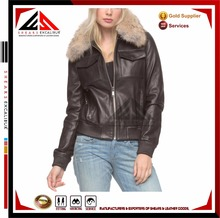 Fashionable professional ladies premium sheep skin leather factory price bomber jacket you will ever own SELJ063