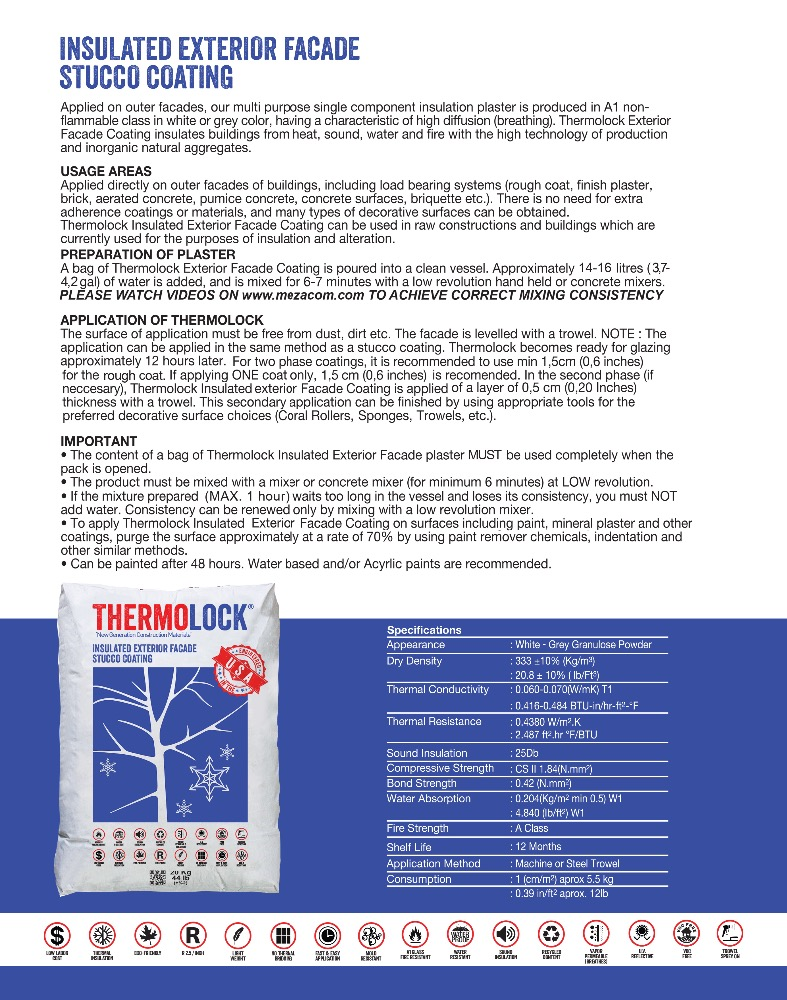 THERMOLOCK INSULATED EXTERIOR FACADE STUCCO COATING