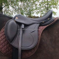 Black / Brown English jumping Treeless Endurance GP all purpose leather horse saddle