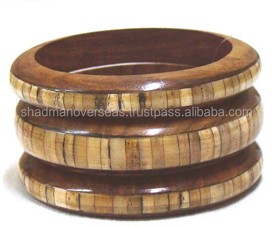Bone Studded Wooden Bangles set 11077-78