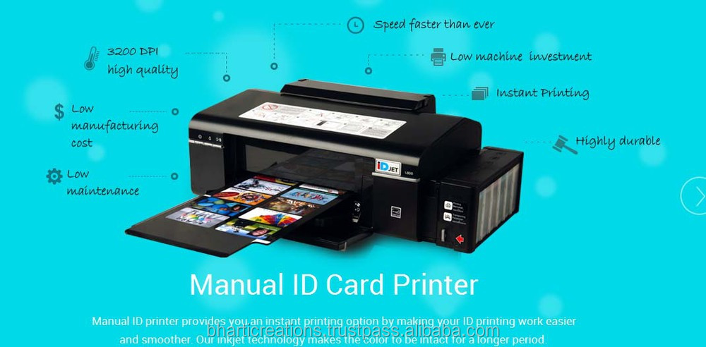 INKJET PVC MANUAL id card printer with 10 card tray