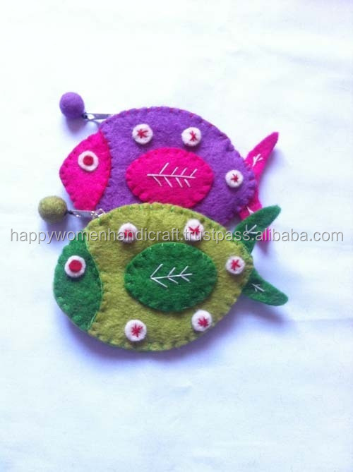 Hand made felt fish shape purse