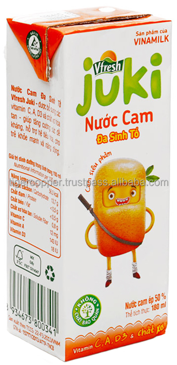 VFRESH JUKI UHT ORANGE NECTAR JUICE 50% PAPER BOX 180ML