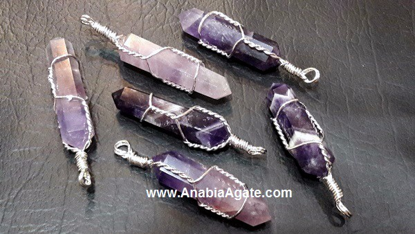 Amethyst Silver Wire Wrapped Pencil Pendant