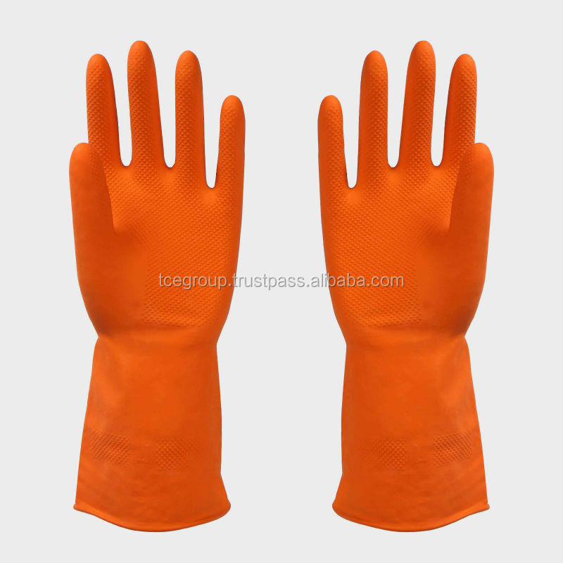 Orange Household Rubber Gloves Malaysia